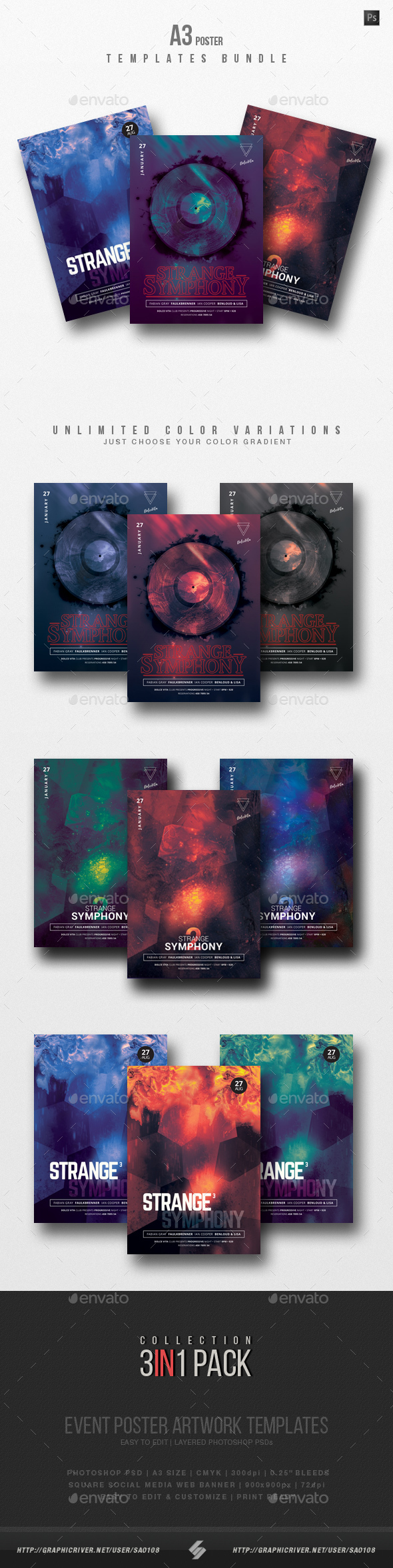 Strange Symphony Trilogy - Party Flyer / Poster Templates Bundle - Clubs & Parties Events