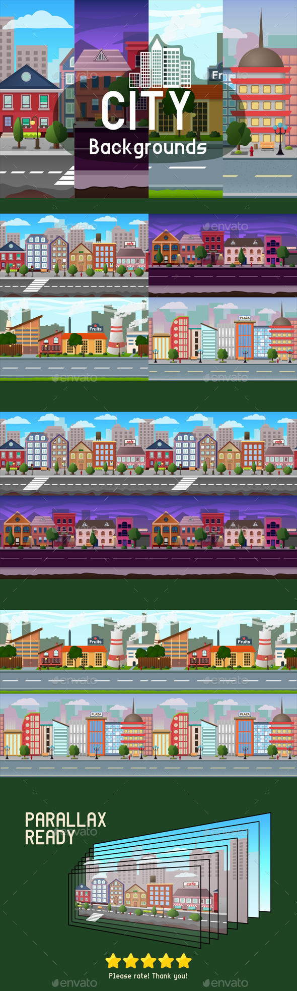 Scrolling City Backgrounds - Backgrounds Game Assets