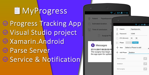CodeCanyon MyProgress Progress Tracking App Visual Studio project for Xamarin.Android with Parse Server 21060522