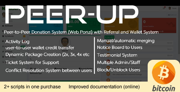 PeerUp - Peer-to-Peer Donation System with Referral, Wallet System and Bitcoin Payment