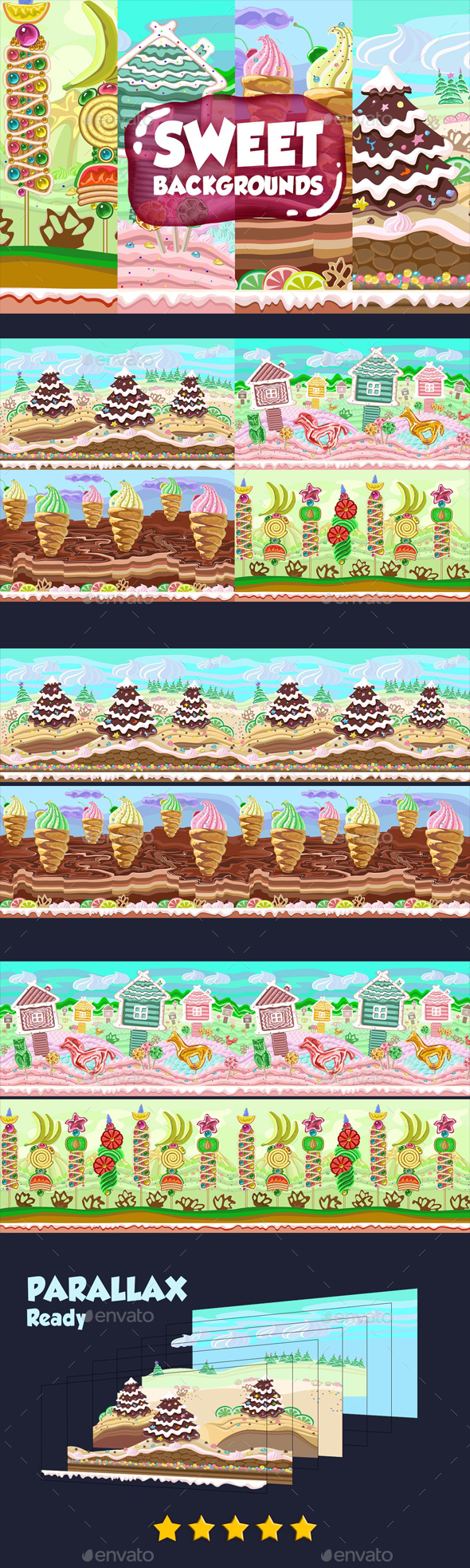 Parallax Sweet Backgrounds - Backgrounds Game Assets