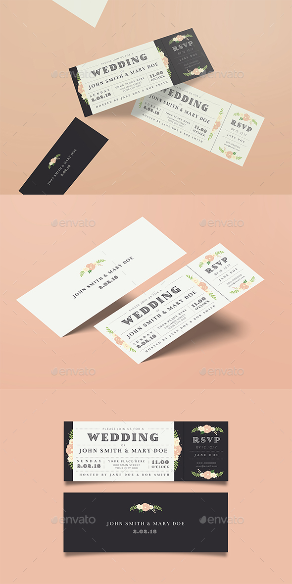 GraphicRiver Wedding Invitation Ticket 21098414