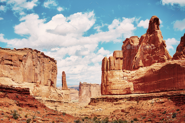 Park Avenue Trail view in Arches National Park, USA. - Stock Photo - Images