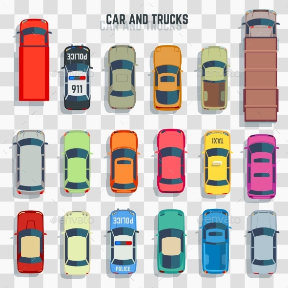 Cars and Trucks Top View - Miscellaneous Vectors