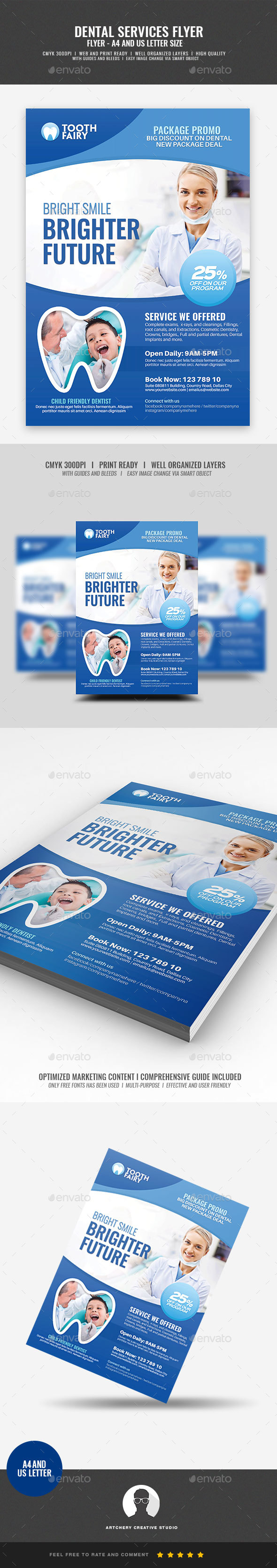 GraphicRiver Dentist Dental Services Flyer 21098456