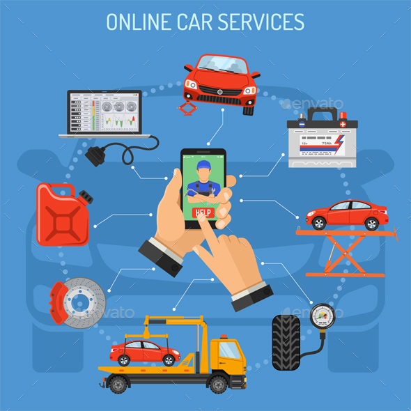 GraphicRiver Online Car Service and Maintenance Concept 21098577