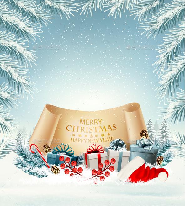 Holiday Christmas background with Santa Hat - Christmas Seasons/Holidays