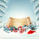 Holiday Christmas background with Santa Hat