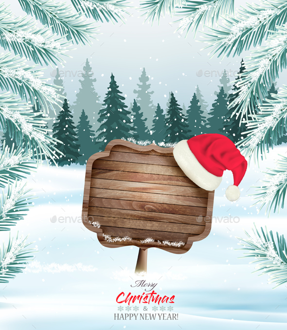 Holiday Christmas Background With Wooden Sign - Christmas Seasons/Holidays