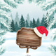 Holiday Christmas Background With Wooden Sign