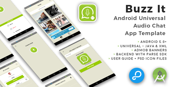 Buzz It | Android Universal Public Audio Chat App Template - CodeCanyon Item for Sale