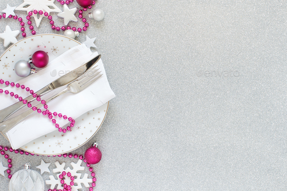 White, silver and pink Christmas Table Setting - Stock Photo - Images