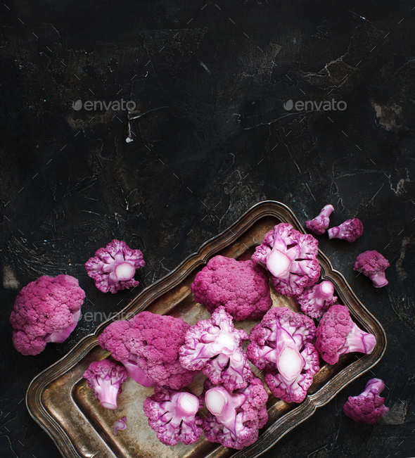 Fresh raw purple cauliflower - Stock Photo - Images
