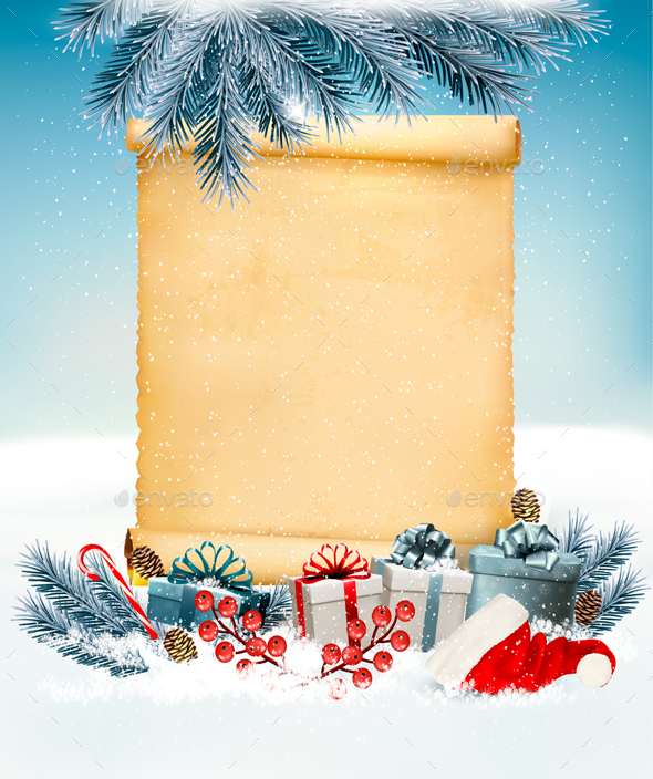 Christmas Holiday Background With Presents And Old Paper - Christmas Seasons/Holidays