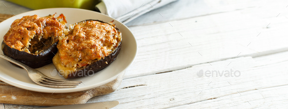 Stuffed eggplant from the oven - Stock Photo - Images