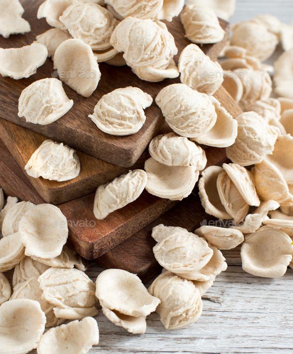 Fresh italian pasta orecchiette - Stock Photo - Images