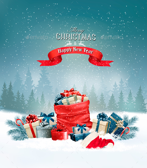 Holiday Christmas Background With a Sack Full of Gift Boxes - Christmas Seasons/Holidays