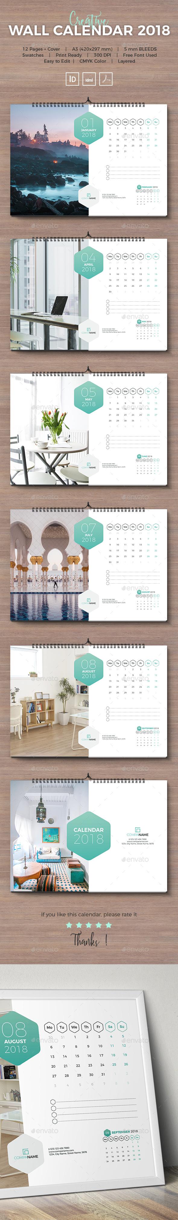 GraphicRiver 2018 Wall Calendar Landscape 21098915