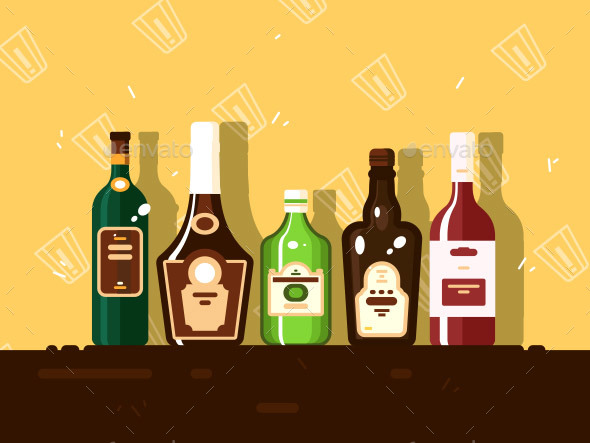 GraphicRiver Alcohol Bottle Set 21098922