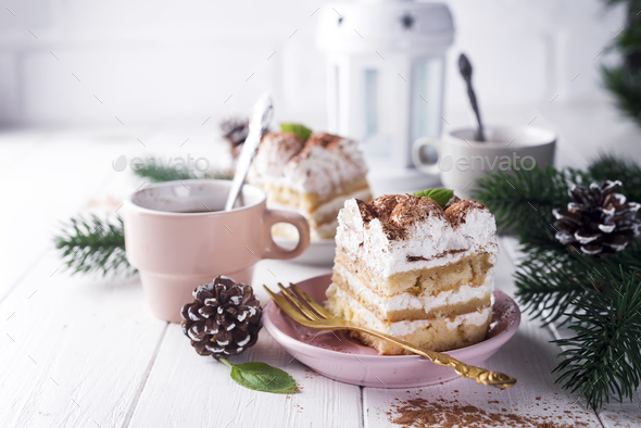 Traditional italian dessert tiramisu - Stock Photo - Images