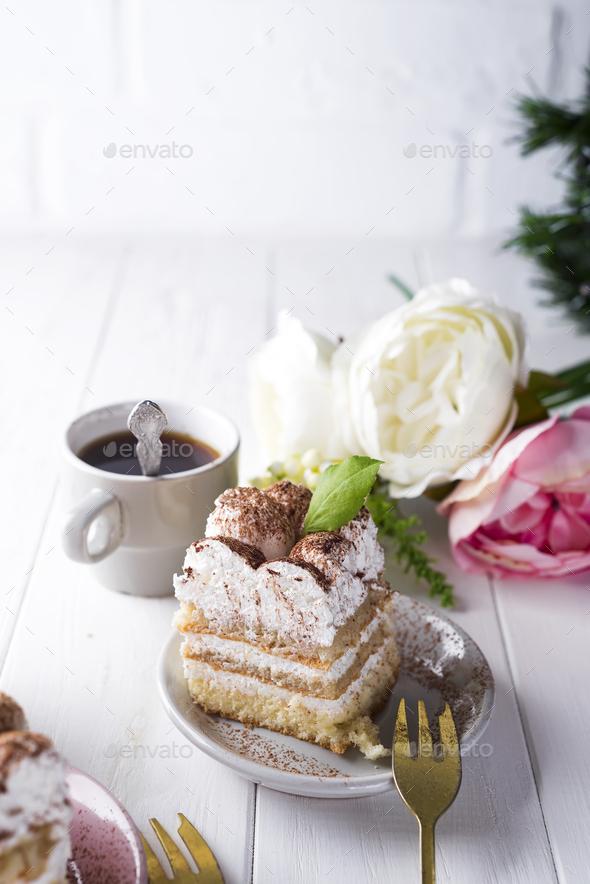 Tiramisu, traditional Italian dessert - Stock Photo - Images