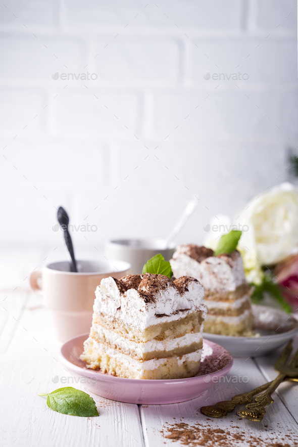 Tiramisu, traditional Italian dessert - Stock Photo - Images