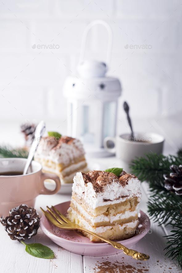 Traditional italian dessert tiramisu - Stock Photo - Images