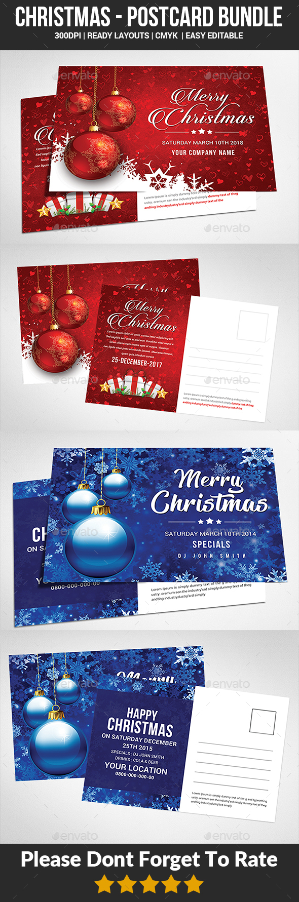 Christmas Postcard Bundle - Cards & Invites Print Templates