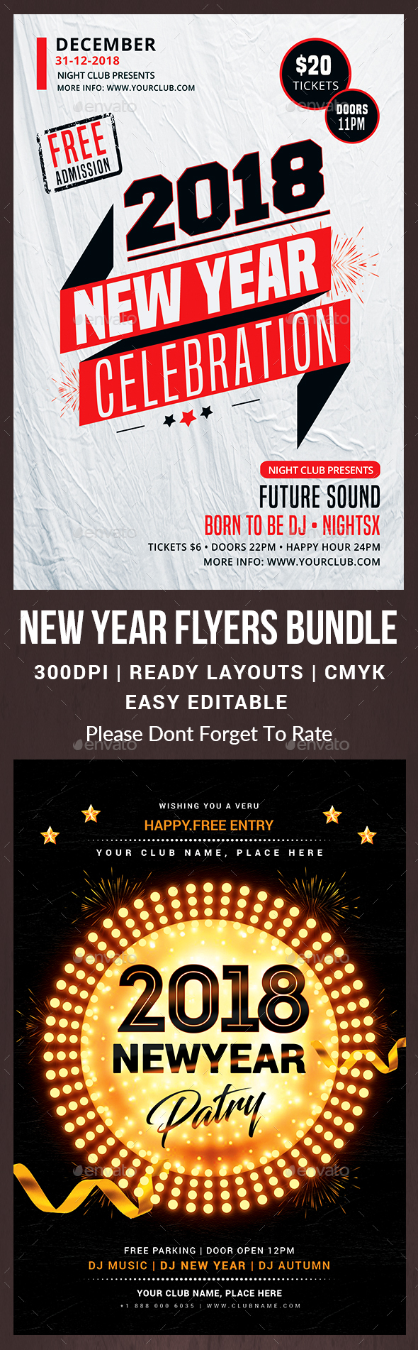 New Year Party Flyers Bundle - Events Flyers
