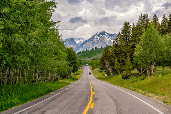 Highway in Grand Teton National Park - Stock Photo - Images