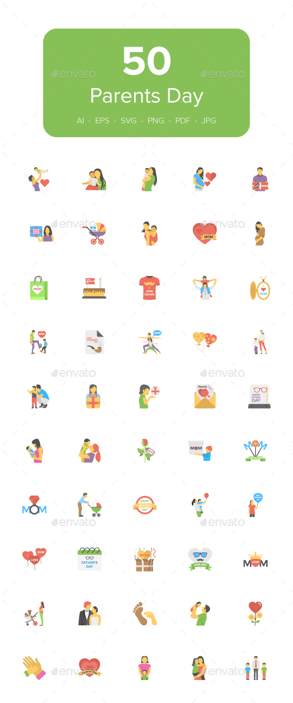 GraphicRiver 50 Flat Icons of Parents Day 21099623