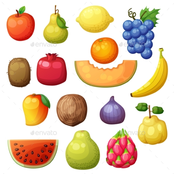 GraphicRiver Cartoon Fruits Set Isolated on White Background 21099975
