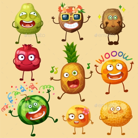 Funny Fruit Character Isolated on White Background - Miscellaneous Vectors