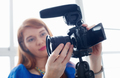 Woman Recording Vlog Video Blog Using DSLR Camera - PhotoDune Item for Sale