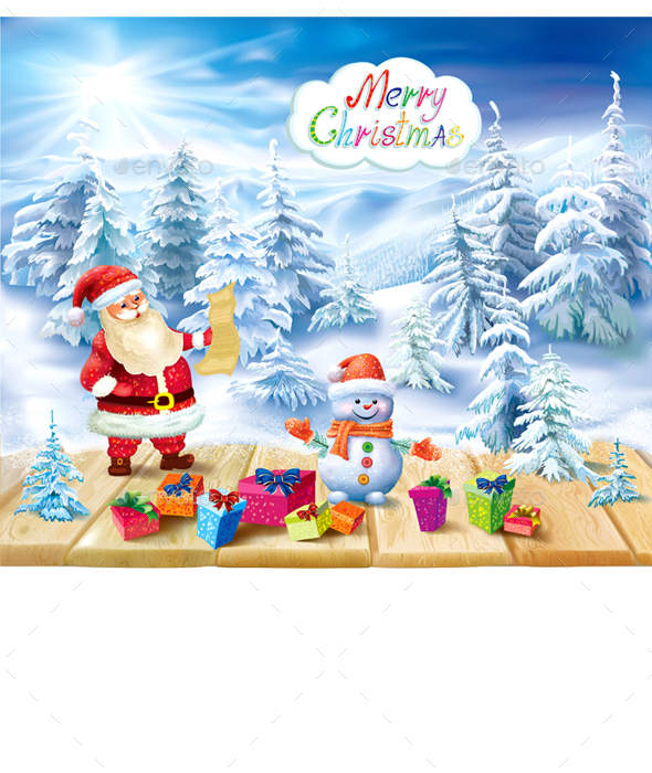 Santa Claus and Snowman on a Winter Background - Christmas Seasons/Holidays