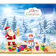 Santa Claus and Snowman on a Winter Background - GraphicRiver Item for Sale