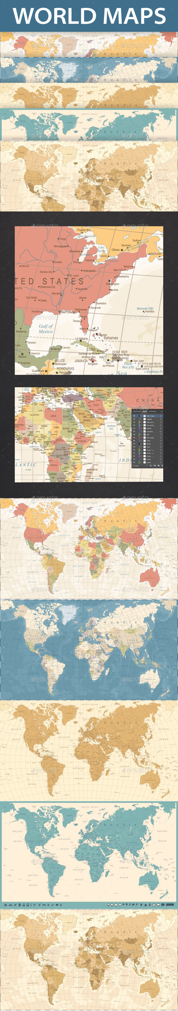GraphicRiver World Map Vintage Set 21099990