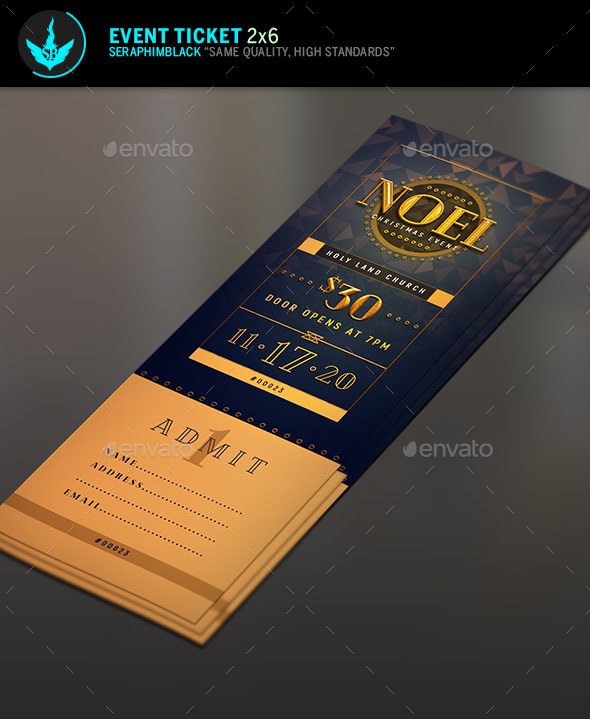 GraphicRiver Noel Christmas Gala Ticket Template 21100378