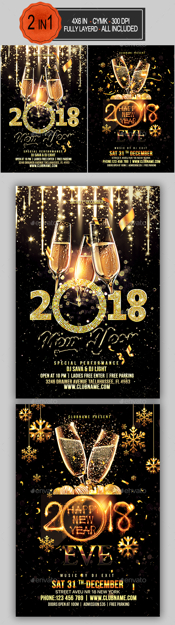 GraphicRiver New Year Flyer Bundle 21100482