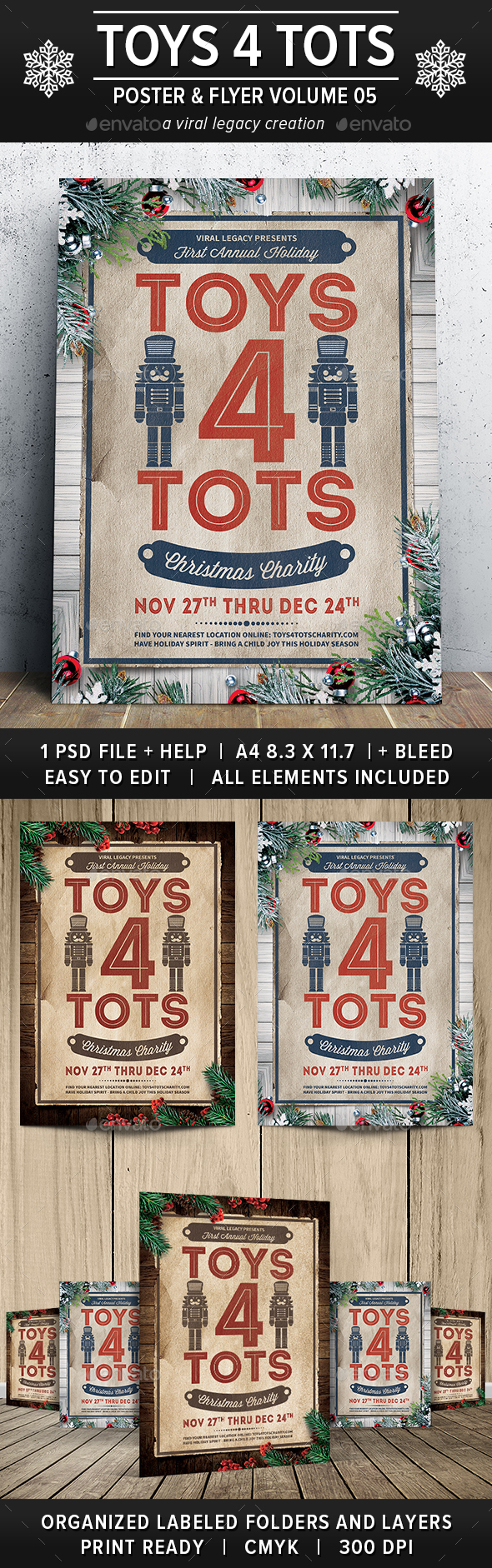 Toys 4 Tots & Toy Drive Poster / Flyer V05 - Flyers Print Templates