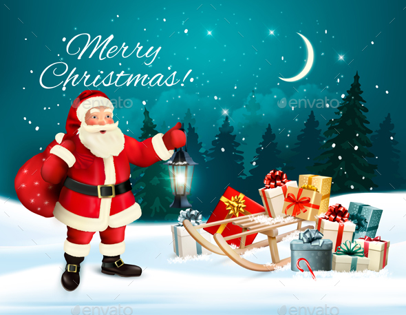 Christmas Holiday Banners With Presents And Santa Claus. Vector. - Christmas Seasons/Holidays
