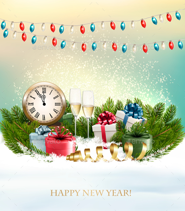 GraphicRiver Merry Christmas Background with Branches Of Tree And Colorful Gift Boxes Vector 21100665