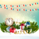 Merry Christmas Background with Branches Of Tree And Colorful Gift Boxes. Vector - GraphicRiver Item for Sale