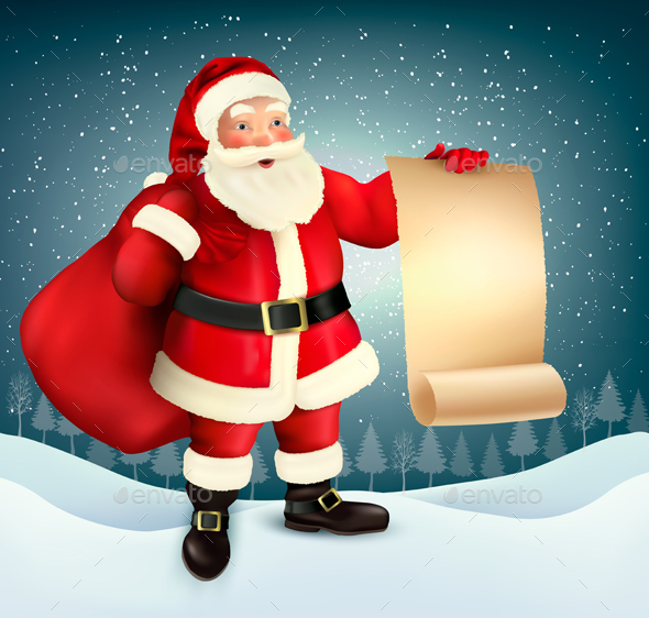 Christmas Holiday Background With Presents And Santa Claus. Vector. - Christmas Seasons/Holidays