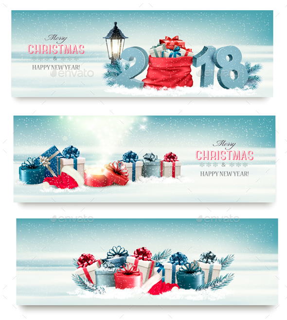 Merry Christmas Banners with Branches Of Tree And Colorful Gift Boxes. Vector - Christmas Seasons/Holidays