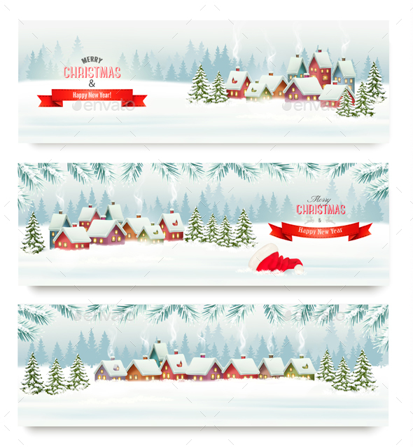 Three Holiday Christmas Banners. Vector - Christmas Seasons/Holidays