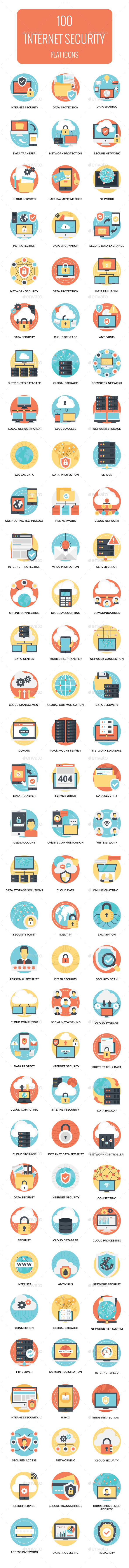 GraphicRiver 100 Flat Internet and Security Icons 21100714