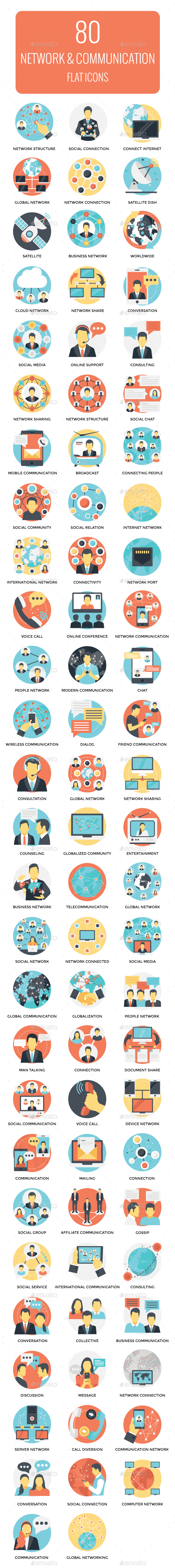 GraphicRiver 80 Networking and Communication Icon 21100717