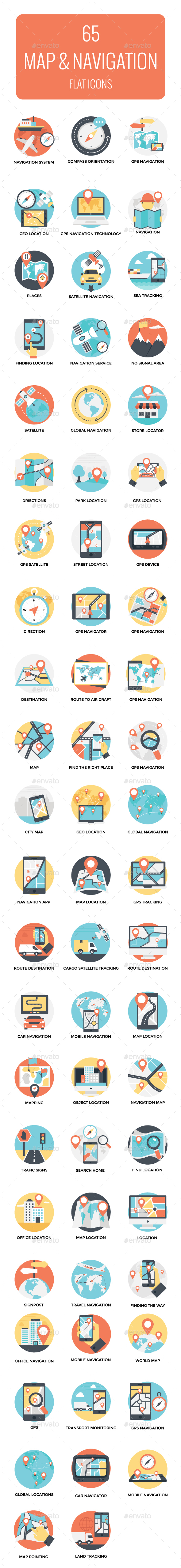 GraphicRiver 65 Flat Map and Navigation Icons 21100721