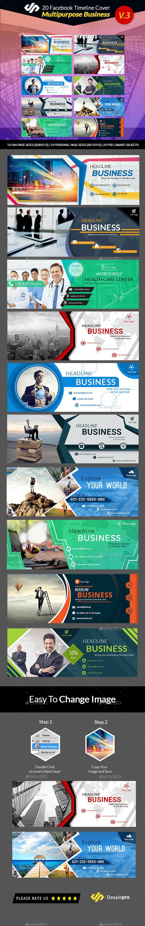 GraphicRiver 20 Multipurpose Facebook Timeline Covers V3 AR 21100743